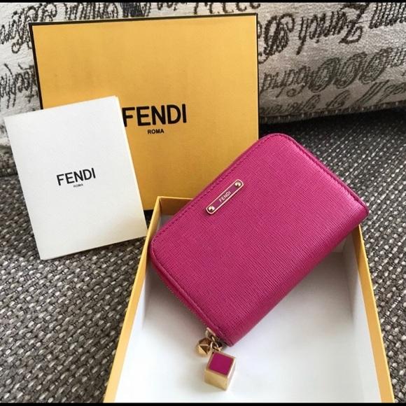 322cf9aae7f Fendi Bags | Auth Crayon Pink Saffiano Compact Zip Wallet | Poshmark